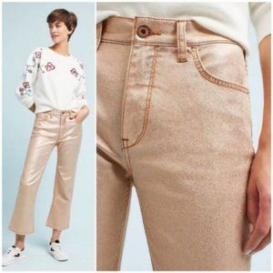 Pilcro Rose Gold High-Waisted Flare Cropped Jeans